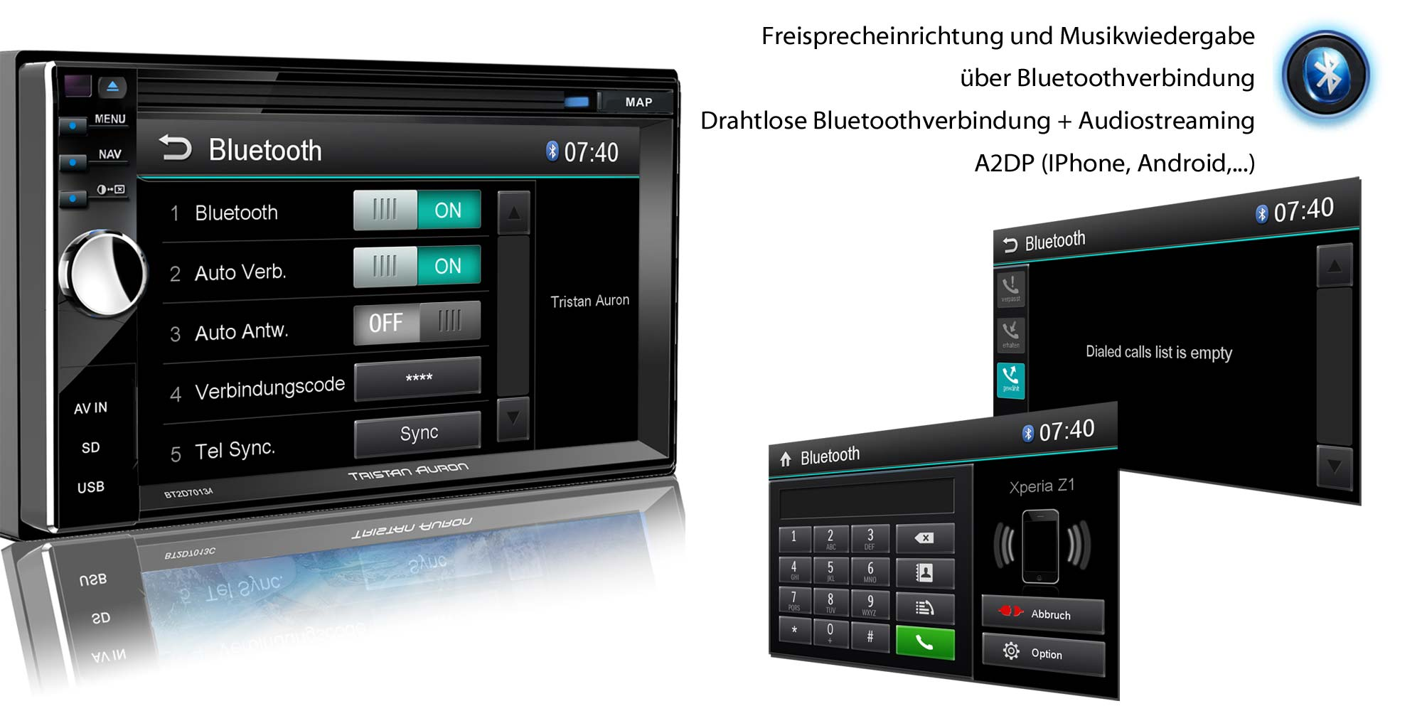 autoradio mit navigation navi bluetooth usb gps 2 din. Black Bedroom Furniture Sets. Home Design Ideas